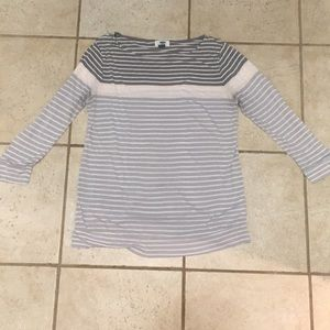 Gray and pink striped shirt